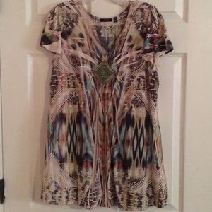 Short sleeve colorful blouse